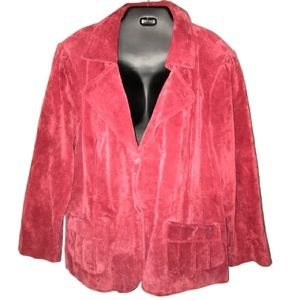 Red Real Suede Leather Jacket in Plus size 3XL